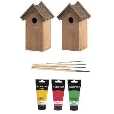 2x houten vogelhuisje/nestkastje 22 cm - rood/geel/groen dhz schilderen pakket