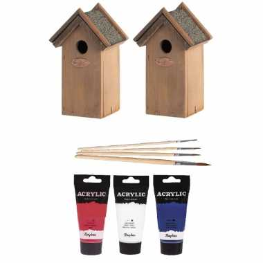 2x houten vogelhuisje/nestkastje 22 cm - rood/wit/blauw dhz schilderen pakket