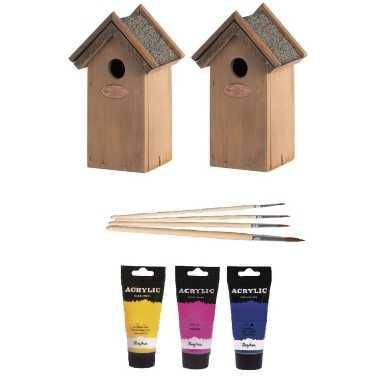 2x houten vogelhuisje/nestkastje 22 cm - roze/geel/blauw dhz schilderen pakket