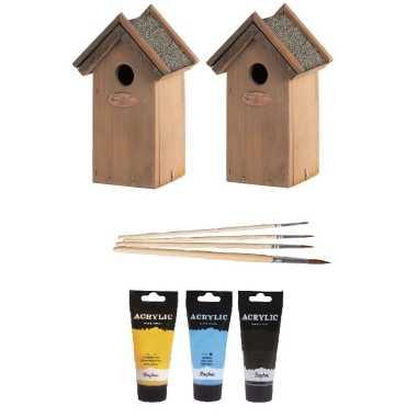2x houten vogelhuisje/nestkastje 22 cm - zwart/geel/lichtblauw dhz schilderen pakket