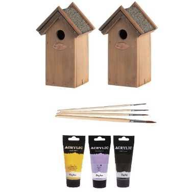 2x houten vogelhuisje/nestkastje 22 cm - zwart/geel/paars dhz schilderen pakket