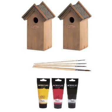 2x houten vogelhuisje/nestkastje 22 cm - zwart/geel/rood dhz schilderen pakket