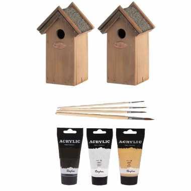 2x houten vogelhuisje/nestkastje 22 cm - zwart/goud/zilver dhz schilderen pakket