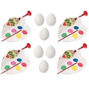 4x paaseieren schilderen setje inclusief 12x witte plastic paaseieren