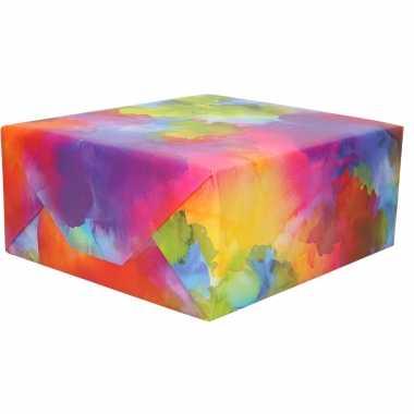5x stuks rollen inpakpapier/cadeaupapier waterverf print 200 x 70 cm