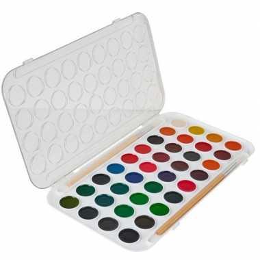 Hobby/knutsel waterverf/aquarel 36 kleuren voor kids
