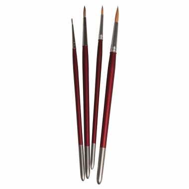 Hobby schilder penselen synthetisch rond set 4-delig