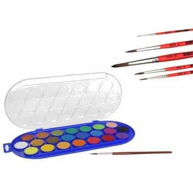 Hobby waterverf/aquarelverf 22 kleuren met 6x stuks penselen