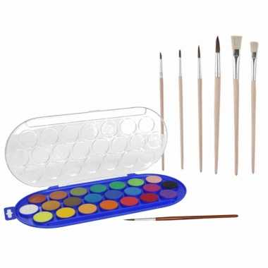 Hobby waterverf/aquarelverf 22 kleuren met 7x stuks penselen