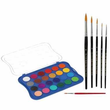 Hobby waterverf/aquarelverf 24 kleuren met 6x stuks penselen