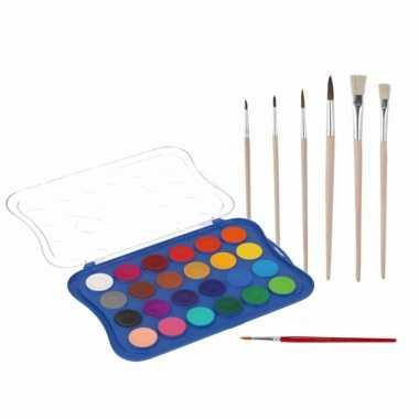 Hobby waterverf/aquarelverf 24 kleuren met 7x stuks penselen