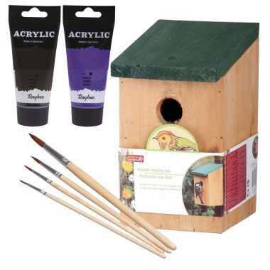 Houten vogelhuisje/nestkastje 22 cm - zwart/donker paars dhz schilderen pakket