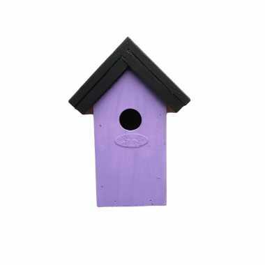 Houten vogelhuisje/nestkastje 22 cm - zwart/lila paars dhz schilderen pakket