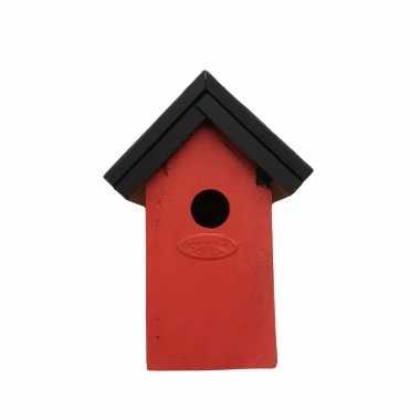 Houten vogelhuisje/nestkastje 22 cm - zwart/rood dhz schilderen pakket
