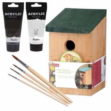 Houten vogelhuisje/nestkastje 22 cm - zwart/zilvergrijs dhz schilderen pakket
