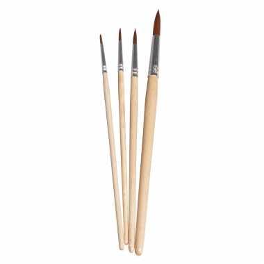 Knutsel schilder penselen synthetisch rond set 4-delig