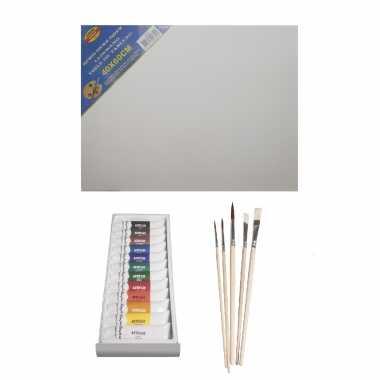Schilders verf set van 12x tubes acrylverf/hobbyverf 12 ml + doek + 5x kwasten