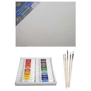 Schilders verf set van 24x tubes acrylverf/hobbyverf 12 ml + canvas doek + 5x kwasten