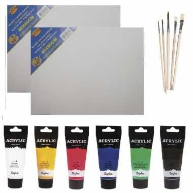 Schilders verf set van 6x tubes acrylverf/hobbyverf 75 ml + 2x doek + 5x kwasten