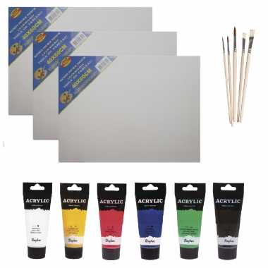 Schilders verf set van 6x tubes acrylverf/hobbyverf 75 ml + 3x doek + 5x kwasten