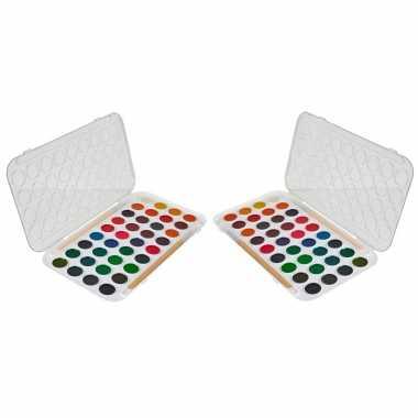 Set van 2x stuks hobby/knutsel waterverf/aquarel 36 kleuren voor kids