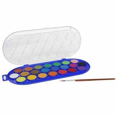 Set van 2x stuks hobby waterverf/aquarelverf 22 kleuren