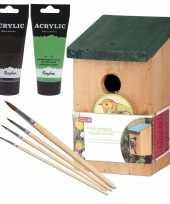 Houten vogelhuisje nestkastje 22 cm zwart groen dhz schilderen pakket 10277397