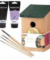 Houten vogelhuisje nestkastje 22 cm zwart lila paars dhz schilderen pakket 10277393