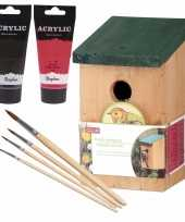 Houten vogelhuisje nestkastje 22 cm zwart rood dhz schilderen pakket 10277392