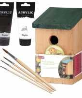 Houten vogelhuisje nestkastje 22 cm zwart wit dhz schilderen pakket 10277172