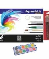Schilderen waterverf set met 7 kwasten en aquarelblok 24 x 17 cm 10199757