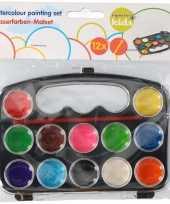Set van 10x stuks schilder waterverf set 12 kleuren